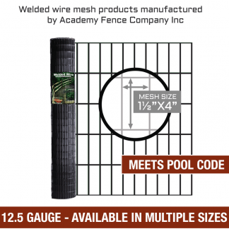mesh size 1.5 inch by 4 inches - 12.5 Gauge - vinyl coated welded wire