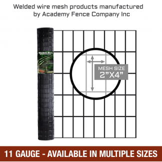 mesh size 2 inches by 4 inches - 11 Gauge - vinyl coated welded wire
