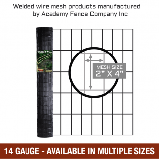 mesh size 2 inches by 4 inches - 14 Gauge - vinyl coated welded wire
