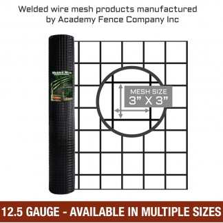 3 inches by 3 inches mesh size - 12.5 Gauge - vinyl coated welded wire - multiple sizes available