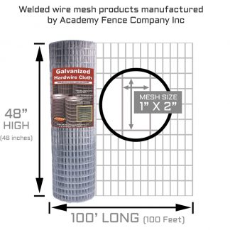 1 inch x 2 inches mesh size - 48 inches high by 100 feet long - 14 Gauge - Galvanized welded wire fence