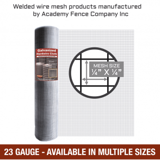 mesh size: quarter inch by quarter inch - 23 Gauge - Hardware cloth galvanized, welded wire fencing roll