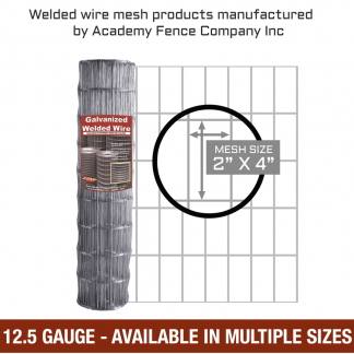 mesh size 2 inches by 4 inches - 12.5 Gauge - Galvanized welded wire