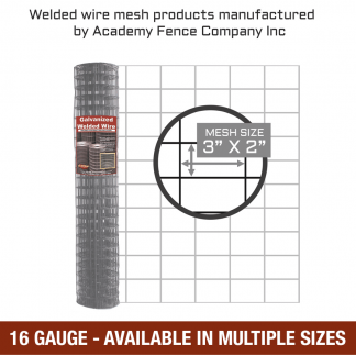 Mesh size 3 by 2 inches - 16 Gauge - Galvanized welded wire