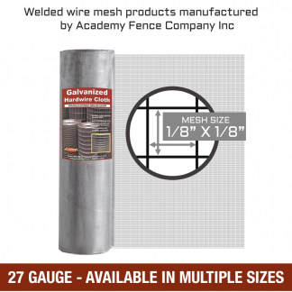 mesh size 1/8 inch by 1/8 inch - 27 Gauge - Hardware cloth galvanized welded wire
