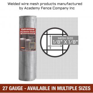 mesh size 1/8 inch by 1/8 inch - 27 Gauge - Hardware cloth galvanized welded wire