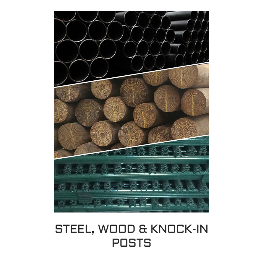 steel posts, wood posts and knock-in posts category